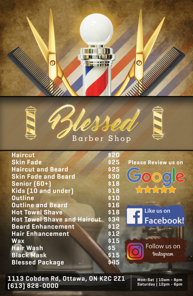 Blessed Barbershop Price List